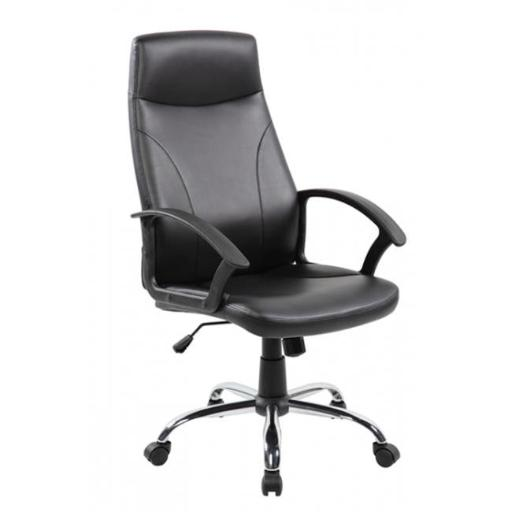 United Seating UOC-9308-BK Economic Modern PU Leather Home Office Desk Chair with PP, Black
