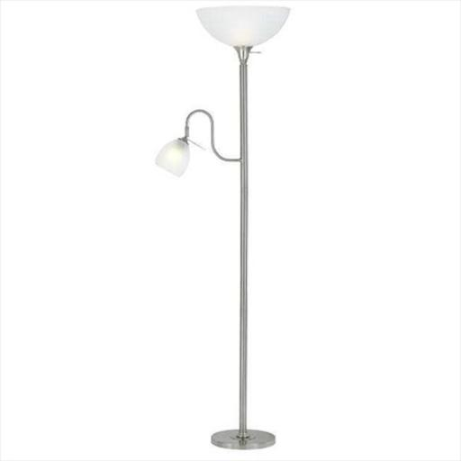 Cal Lighting BO-2054-BS 100 W Torchiere Floor Lamp With 60 W Reading Lamp, Brushed Steel Finish