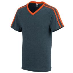 Augusta Sportswear Boys' Get Rowdy Shoulder Stripe Tee L Slate Heather/Orange 364.V40.L