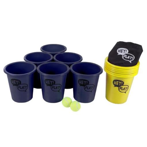 Hey Play M350085 5.2 lbs Large Beer Pong Outdoor Game Set, Blue & Yellow
