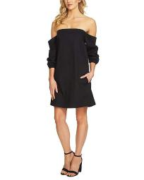 1.STATE Women's Off Shoulder Voluminous Sleeve Dress Rich Black Dress SZ: S