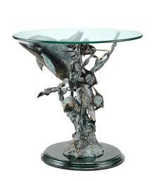 Metal and Glass Dolphin Seaworld End Table