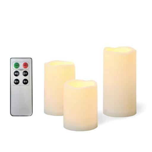 EcoGecko 87331-03 3 Piece Outdoor Waterproof Flameless Candles with Remote Timer Plastic Realistic Flickering Battery Operated LED Pillar Melted Edge