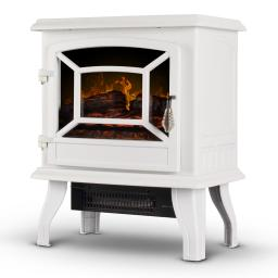 """DELLA 17"""" Adjustable 2 Setting Freestanding Portable Tempered Glass Electric Fireplace Stove Heater (White)"""