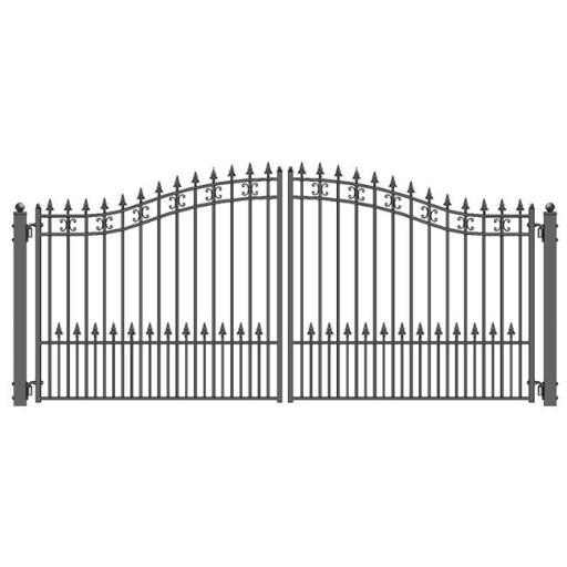 Aleko DG12STPD-UNB 12 ft. St. Petersburg Style Iron Wrought Dual Swing Driveway Gate