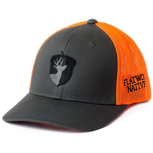 Flatwood Natives 852000006212 Charcoal & Neon Orange Front Acorn Embroidered Flexfit Hat 4677EF6DDC444F28