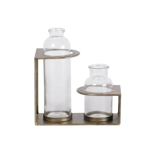 Urban Trends Collection 59203 Metal Bud Vase Holder with Tall & Short Glass Bottle Vases Anitque Finish - Gold