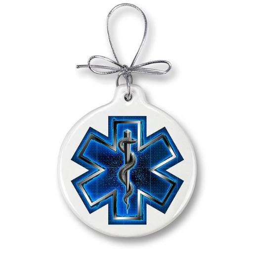 Erazor Bits FF2058-RPO100 Paramedic Christmas Ornaments Gifts for Men or Women - EMS on call for life-Silver Snake, Ivory 5RBOPSV8UW2WCFJY