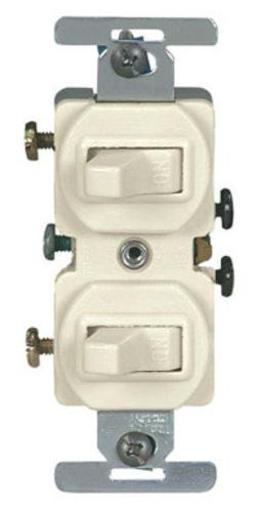 Cooper Wiring S06-05224-2ts Duplex Single Pole Switches, Light Almond