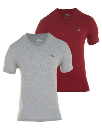 LACOSTE Solid V-Neck T-Shirt 2-Pack MENS - STYLE # TH6606-51 - XF5 thumbnail