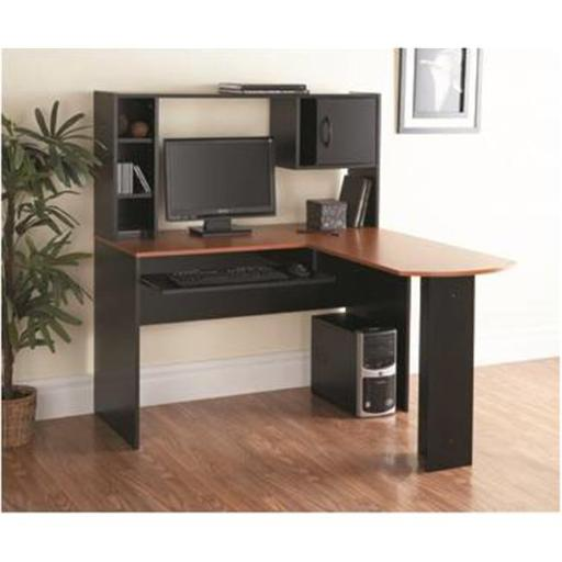 Computer Desk with Hutch, Black with Oak
