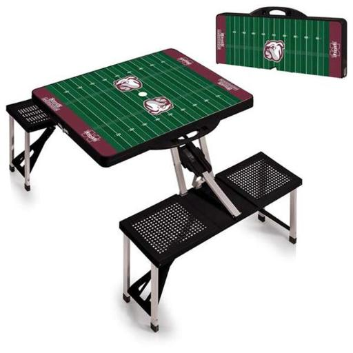 Picnic Time 811-00-175-385-0 Mississippi State Bulldogs Digital Print Portable Folding Picnic Table with Four Seats, Black