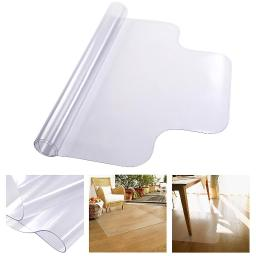 "YesHom 48"" x 36"" Clear PVC Floor Mat Protector w/ Lip 1.5mm Thickness for Hard Wood Floors Home Office Desk Chairs"