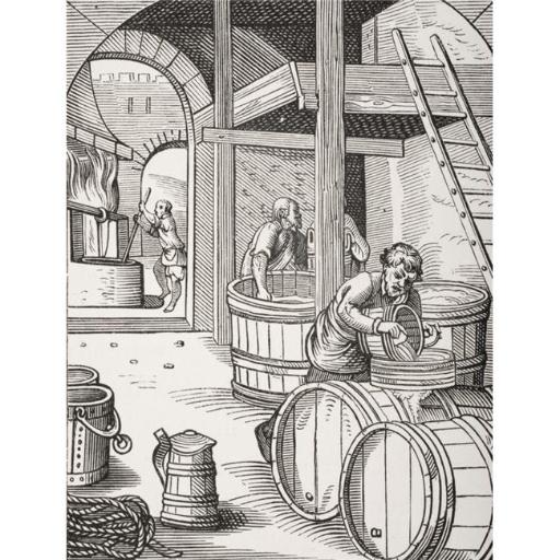 Posterazzi DPI1857904LARGE The Brewer 19th Century Copy of Picture Designed & Engraved in 16th Century by Jost Amman Poster Print, Large - 26 x 34
