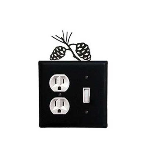 Village Wrought Iron EOS-89 Pine Cone Outlet and Switch Cover - Black