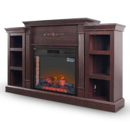 DELLA 1400W Electric Infrared Heater Fireplace with Bookcase and Remote Control, 28-Inch