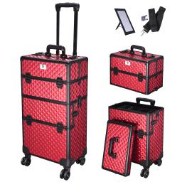 2in1 Aluminum Makeup Train Case Rolling Travel Salon Trolley Cosmetics Organizer