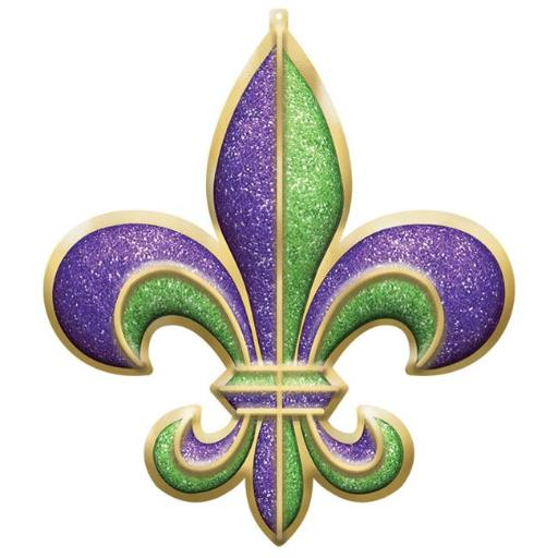 Amscan 190621 26 x 22 in. Fleur de Lis Mardi Gras Plastic 3D Decoration - Pack of 2