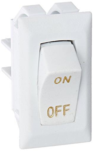 White Rocker Switch W/Gold Text 10 A On/Off - Spst - Cut-Out .550In X 1.125In