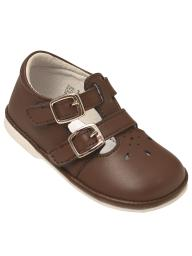 Angel Baby Girls Brown Perforated Double Buckle Mary Jane Shoes 1 Baby