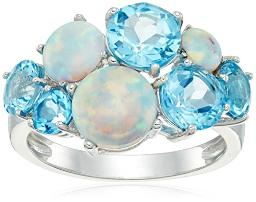 Sterling Silver Created Opal and Genuine Swiss Blue Topaz Cluster Ring, Size 7
