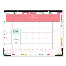 Day Designer Academic Year Desk Pad 22 X 17 White Floral 2020-2021   Total Quantity: 1