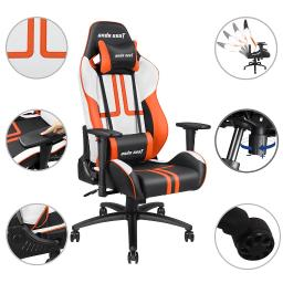 Anda Seat Racing Chair Gaming Adjustable Tilt PVC Leather High-back E-sports w/ Headrest & Lumbar Cushion Office