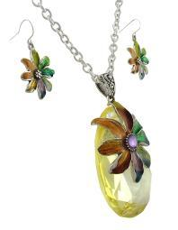 Rainbow Enamel Flower on Large Faceted Crystal Necklace/Earrings Set