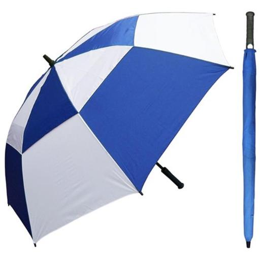 RainStoppers W030ROW 60 in. Auto Open Royal & White Wind Buster Golf Umbrella with Golf Grip Handle, 6 Piece
