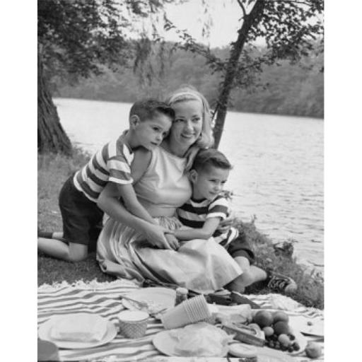 Posterazzi SAL2554670B Mid Adult Woman Picnicking with Her Two Sons at a Riverbank Poster Print - 18 x 24 in.