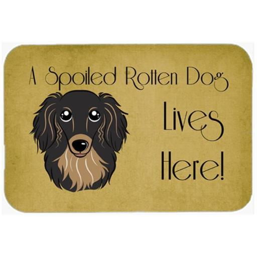 Carolines Treasures BB1461JCMT Longhair Black And Tan Dachshund Spoiled Dog Lives Here Kitchen & Bath Mat, 24 x 36 in.