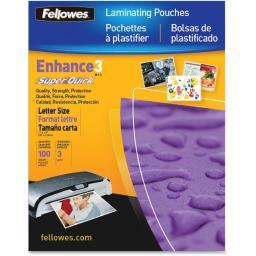 Fellowes, inc. 5245801 laminating pouch letter 11.5in x 9in landscape 3mil 100pk
