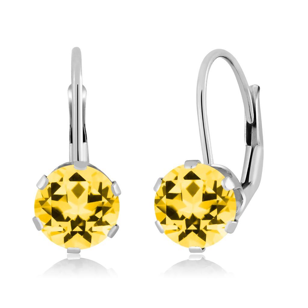 14K White Gold Dangle Earrings Set with Round Honey Topaz from Swarovski