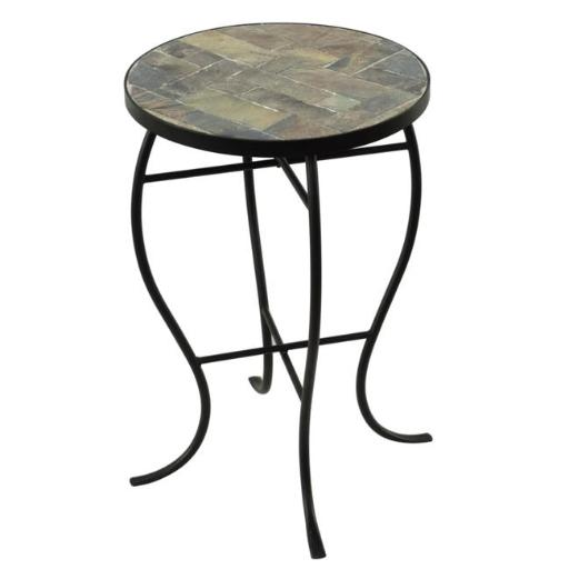 Design Mode 32-0406RT2 No. 2 Mosaic Tile Round Top Table with Metal Base