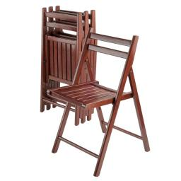 Winsome 94415 Robin 4 Pieces Folding Chair Set Walnut
