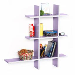 Gray Violet-A Leather Cross Type Shelf / Bookshelf / Floating Shelf (5 pcs)