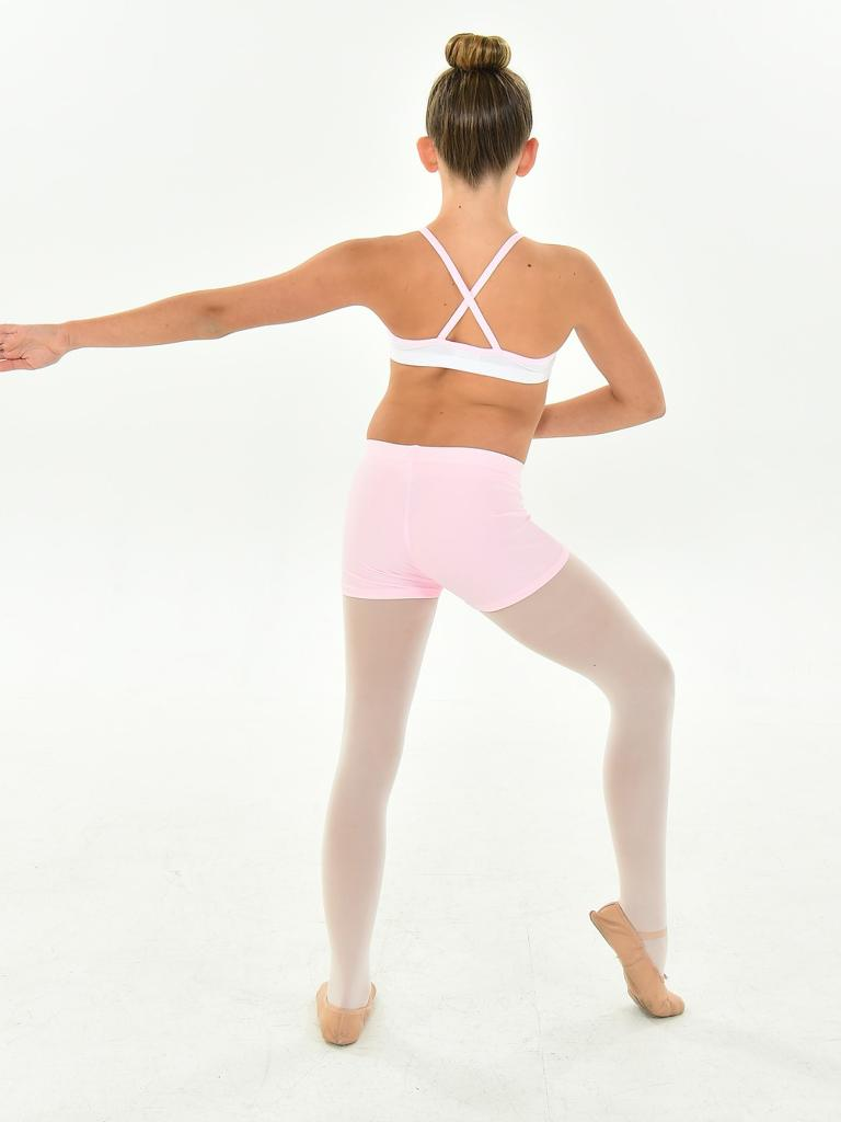 Little Girls White Pink Binding Pearlized Lycra Angel Dancewear Bra Top 4-6