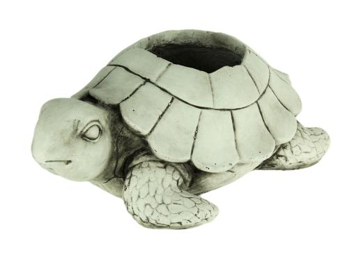 Weathered White Cement Look Sea Turtle Planter