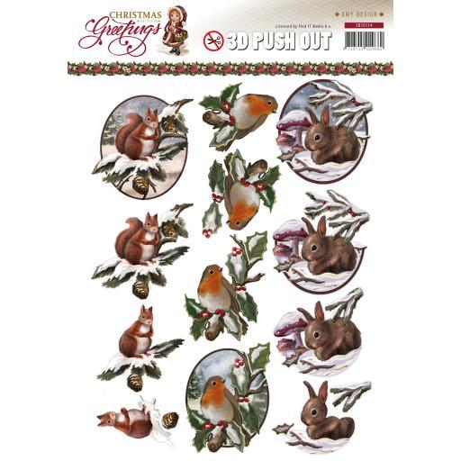 Find It Trading Amy Design Punchout Sheet-Christmas Animals