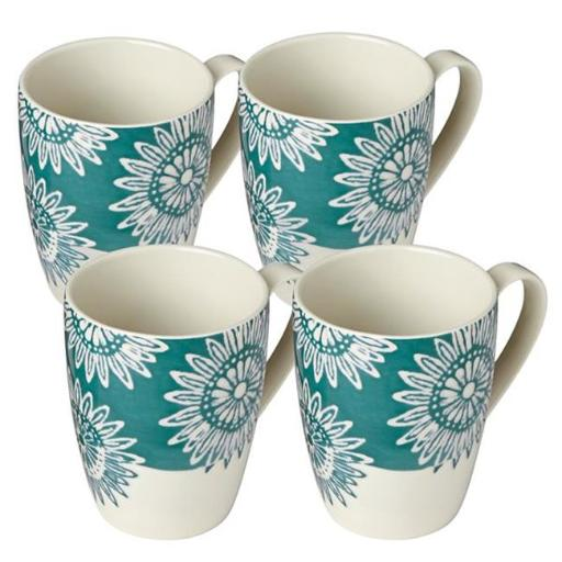 Lenox 881706 Market Place Teal Mug Set, White - 4 Piece