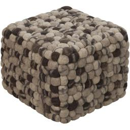 Surya Rug POUF-14 Rectangular Pouf-Ottoman Green with Brown 18 x 18 x 18 in.