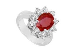 Created Ruby and Cubic Zirconia Fashion Ring with 3.25 Carats TGW in 10K White Gold