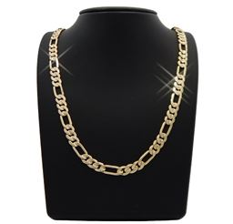 """14K Gold Filled Mate Finish Solid Figaro Chain 24"""""""