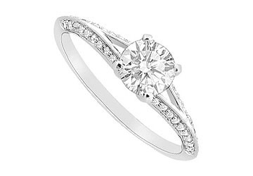 14K White Gold Engagement Ring with Cubic Zirconia Channel Set of 2.25 Carat Total Gem Weight