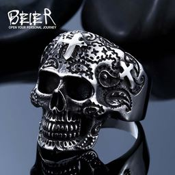 316L Stainless Steel ring biker skull ring men - 10, White