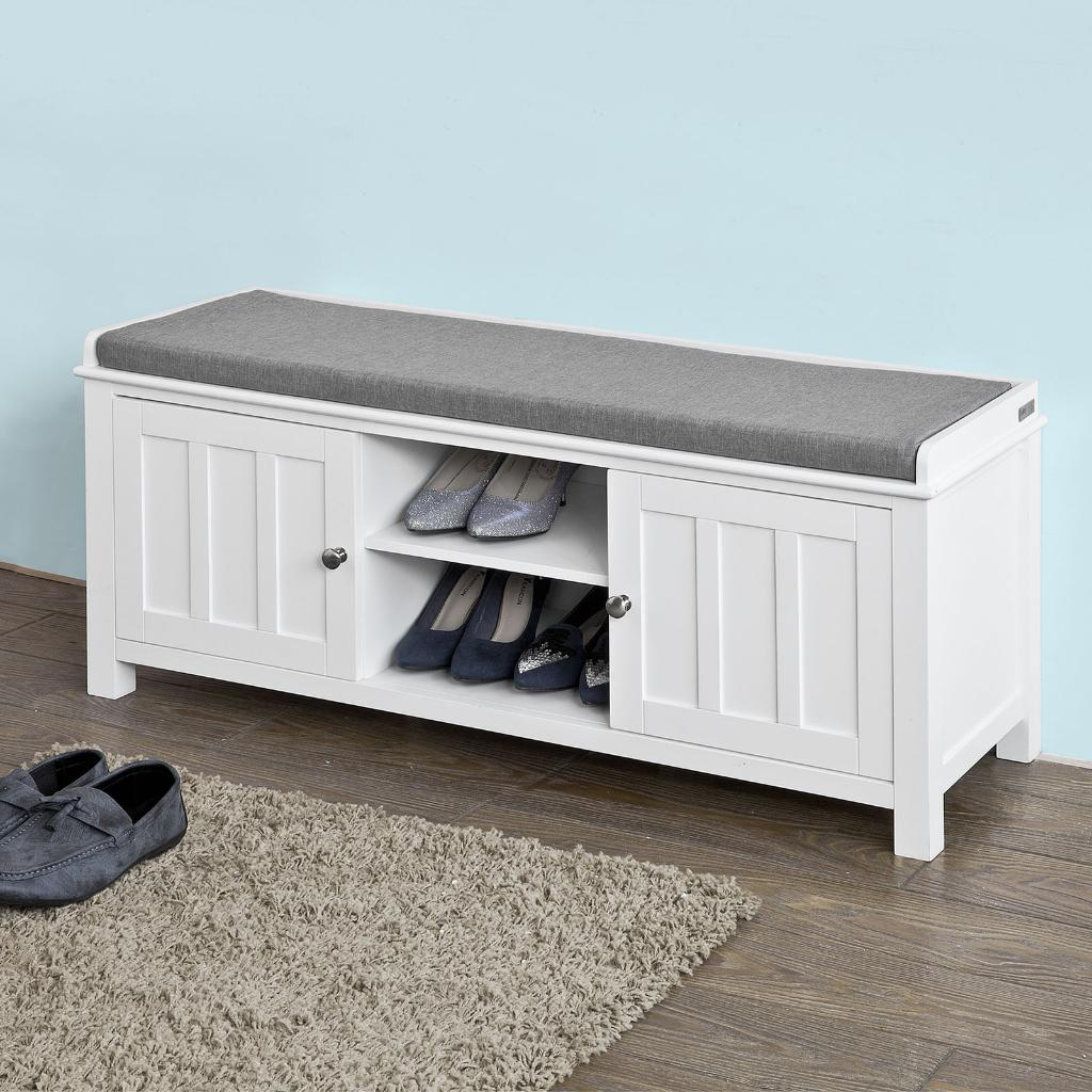 None Haotian Fsr35 W White Storage Bench With 2 Doors Removable Seat Cushion Shoe Cabinet Shoe Bench Haotian Massgenie Com