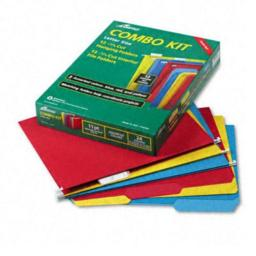 Ampad Combo Hanging File Folders, 1/3 Tab, Letter, Assorted Colors, 12 Sets/Box