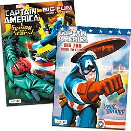 Captain America Coloring Book Set (2 Books - 96 Pages)