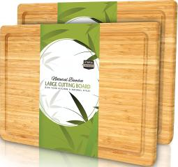 (Pack of 2) Extra Large Bamboo Cutting Board with Juice Groove - Kitchen Chopping Board for Meat Cheese and Vegetables (17 x 12 Inch)