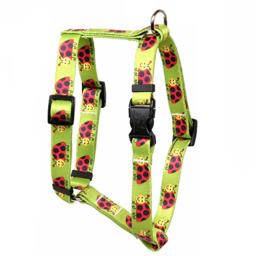 """Yellow Dog Design Lovely Ladybugs Roman Style Dog Harness Fits Chest Circumference of 8 to 14"""", X-Small/3/8"""